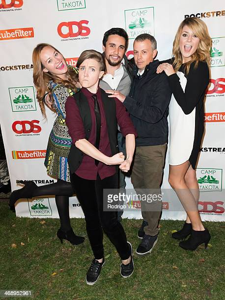 Actress Hannah Hart producer Michael Goldfine and actresses Hannah Hart and Grace Helbig attend 'Camp Takota' Exclusive Sneak Peek Party at UCLA on...