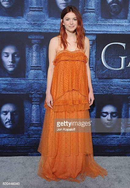 Actress Hannah Murray arrives at the Premiere Of HBO's 'Game Of Thrones' Season 6 at TCL Chinese Theatre on April 10 2016 in Hollywood California
