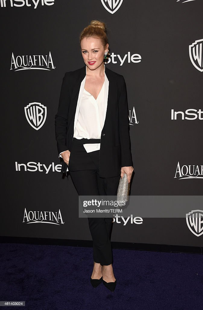 Actress <a gi-track='captionPersonalityLinkClicked' href=/galleries/search?phrase=Hannah+New&family=editorial&specificpeople=8671957 ng-click='$event.stopPropagation()'>Hannah New</a> attends the 2015 InStyle And Warner Bros. 72nd Annual Golden Globe Awards Post-Party at The Beverly Hilton Hotel on January 11, 2015 in Beverly Hills, California.