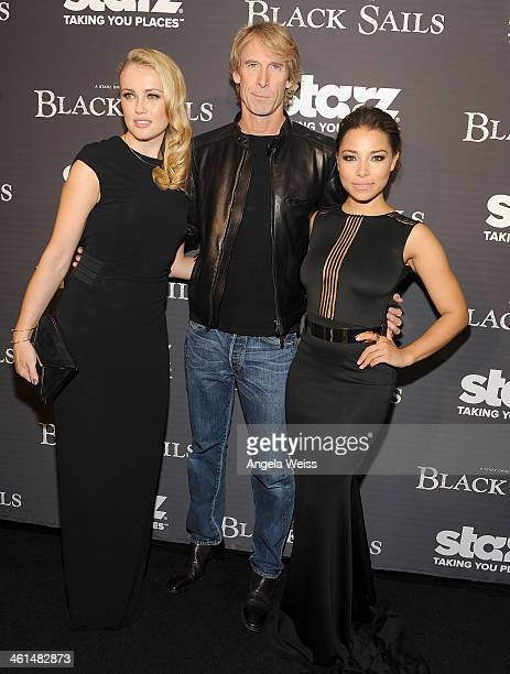 Actress Hannah New producer Michael Bay and actress Jessica Parker Kennedy arrive at the Starz original series premiere of 'Black Sails' at the...