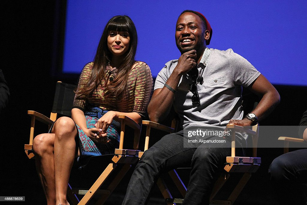 Actress Hannah Simone (L) and actor Lamorne Morris speak onstage at the 'New Girl' Season 3 Finale Screening and cast Q&A at Zanuck Theater at 20th Century Fox Lot on May 8, 2014 in Los Angeles, California.