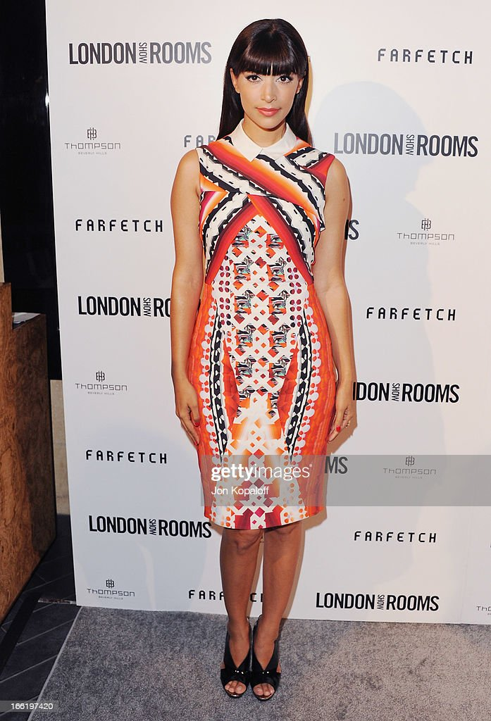 Actress Hannah Simone arrives at the British Fashion Council Celebrates 'London Show Rooms LA' at Thompson Hotel on April 9, 2013 in Beverly Hills, California.