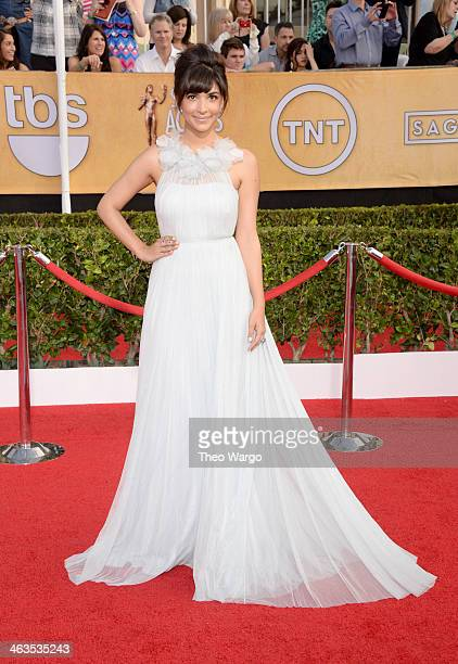 Actress Hannah Simone attends 20th Annual Screen Actors Guild Awards at The Shrine Auditorium on January 18 2014 in Los Angeles California