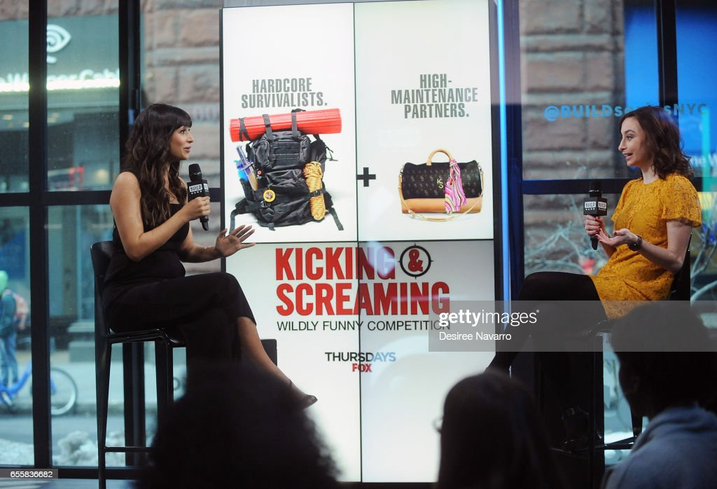 Actress Hannah Simone (L) attends Build Series to discuss 'Kicking & Screaming' at Build Studio on March 20, 2017 in New York City.