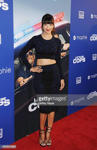 Actress Hannah Simone attends the 'Let's Be Cops' Los Angeles Premiere held at the ArcLight Hollywood on August 7 2014 in Hollywood California