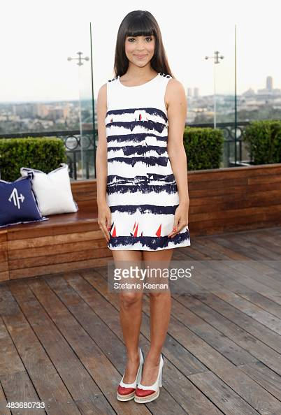 Actress Hannah Simone attends the Zooey Deschanel for Tommy Hilfiger Collection launch event at The London Hotel on April 9 2014 in West Hollywood...