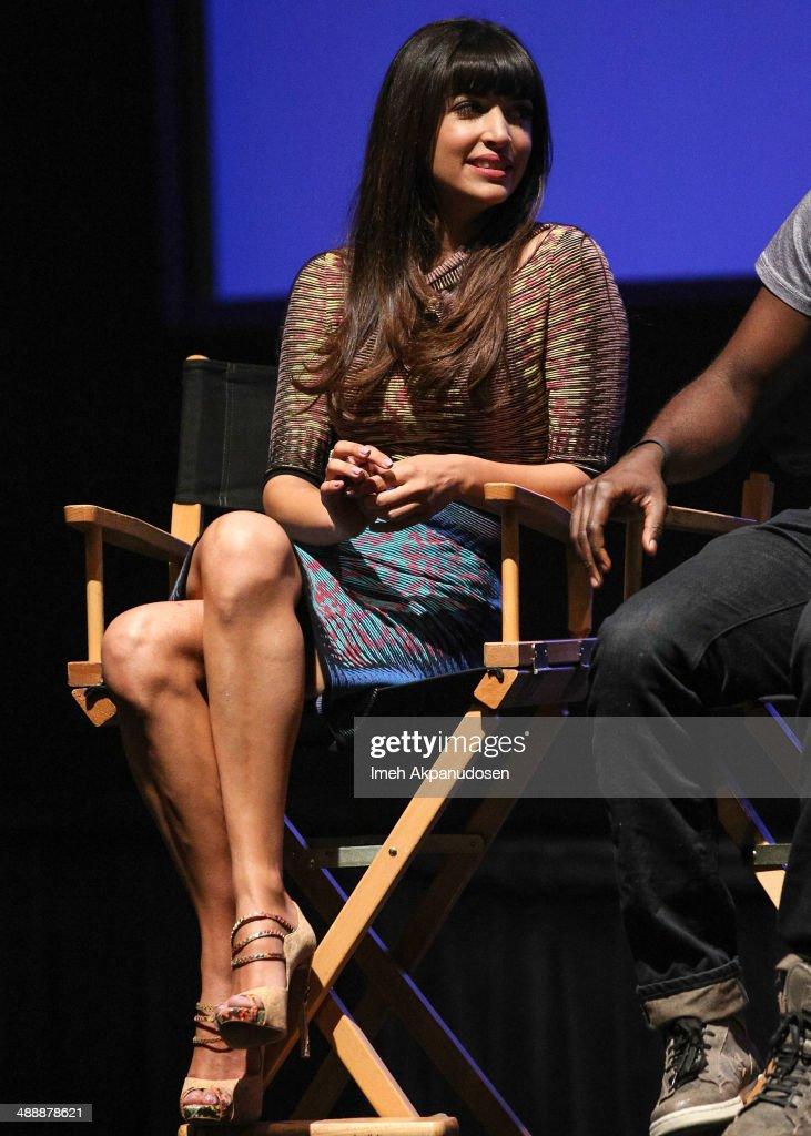 Actress Hannah Simone speaks onstage at the 'New Girl' Season 3 Finale Screening and cast Q&A at Zanuck Theater at 20th Century Fox Lot on May 8, 2014 in Los Angeles, California.