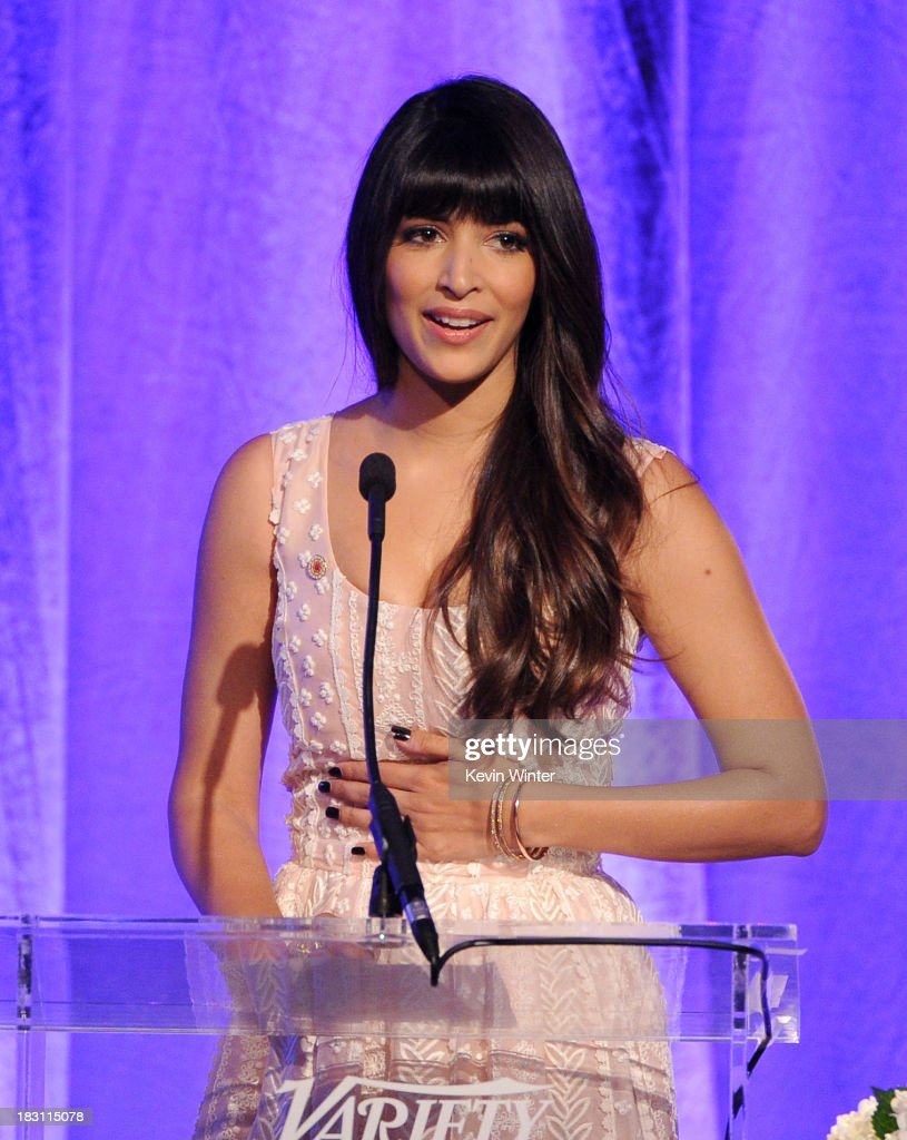 Actress <a gi-track='captionPersonalityLinkClicked' href=/galleries/search?phrase=Hannah+Simone&family=editorial&specificpeople=3291351 ng-click='$event.stopPropagation()'>Hannah Simone</a> speaks onstage during Variety's 5th Annual Power of Women event presented by Lifetime at the Beverly Wilshire Four Seasons Hotel on October 4, 2013 in Beverly Hills, California.