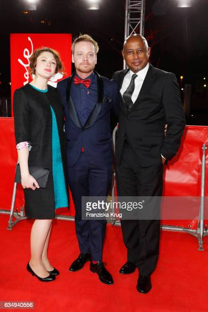 Actress Hannah Steele actor Stefan Konarske and film director and screenwriter Raoul Peck attend the 'The Young Karl Marx' premiere during the 67th...