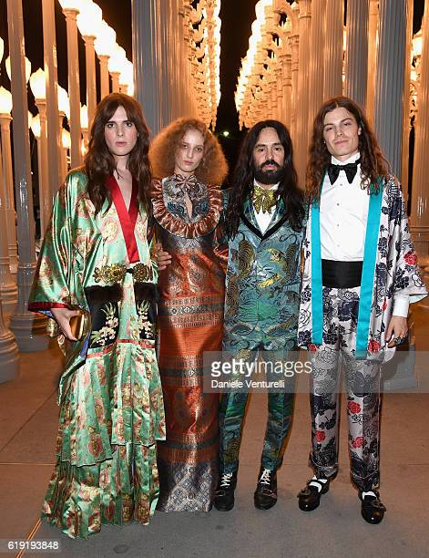 Actress Hari Nef wearing Gucci artist Petra Collins wearing Gucci Gucci Creative Director Alessandro Michele and musician Borns wearing Gucci attend...
