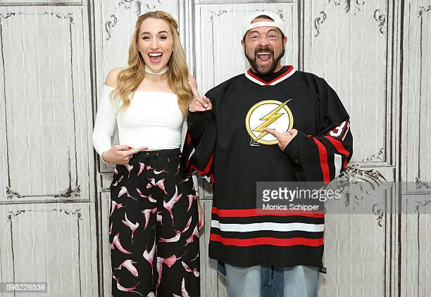 Actress Harley Quinn Smith and actor and filmmaker Kevin Smith attend AOL Build Presents Kevin Smith and Harley Quinn Smith Discussing Their Film...