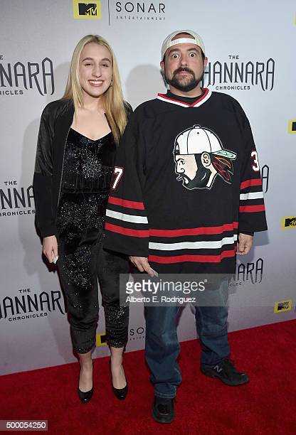 Actress Harley Quinn Smith and director Kevin Smith attend the premiere of MTV and Sonar Entertainment's 'The Shannara Chronicles' at iPic Theaters...