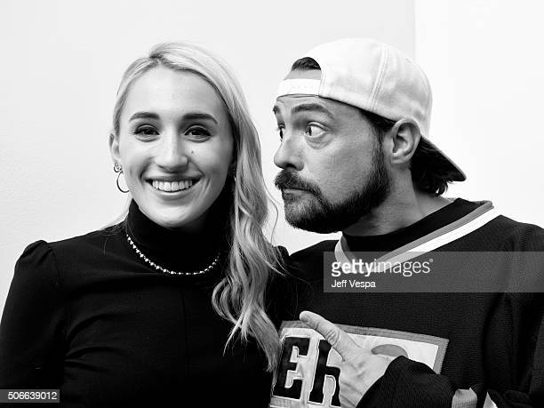 Actress Harley Quinn Smith and director Kevin Smith from the film 'Yoga Hosers' pose for a portrait during the WireImage Portrait Studio hosted by...