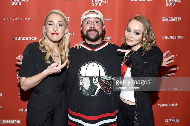 Actress Harley Quinn Smith director/writer Kevin Smith and LilyRose Melody Depp attend the 'Yoga Hosers' Premiere during the 2016 Sundance Film...