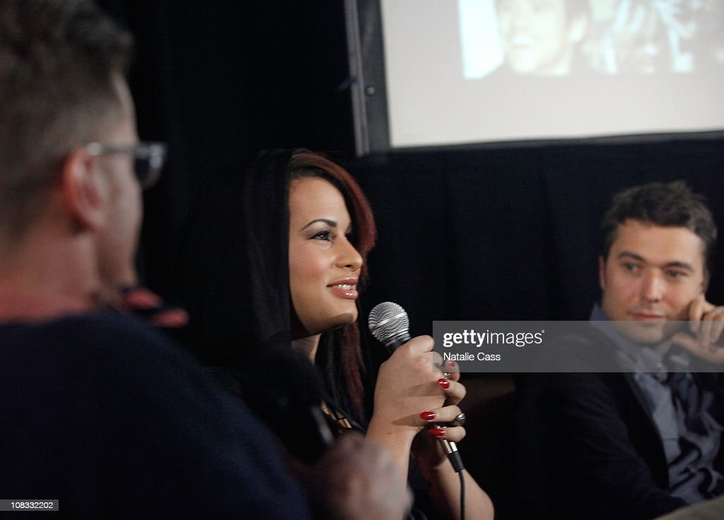 Actress Harmony Santana (C) speaks at the GLAAD Panel at the Filmmaker Lodge during the 2011 Sundance Film Festival on January 25, 2011 in Park City, Utah.