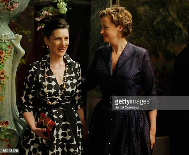 Actress Harriet Walter and actress Janet Mcteer attend the opening night party for 'Mary Stuart' at Tavern on the Green on April 19 2009 in New York...