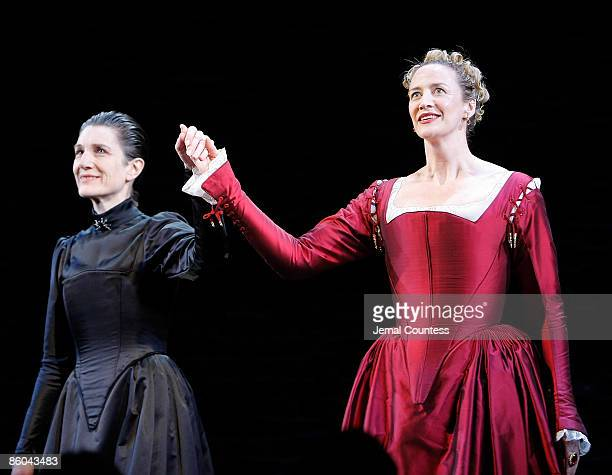 Actress Harriet Walter and actress Janet McTeer take a bow during curtain call at the opening night of 'Mary Stuart' at the Broadhurst Theatre on...