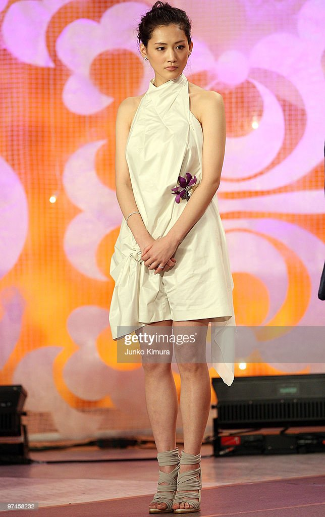 Actress <a gi-track='captionPersonalityLinkClicked' href=/galleries/search?phrase=Haruka+Ayase&family=editorial&specificpeople=4451163 ng-click='$event.stopPropagation()'>Haruka Ayase</a> attends the 33rd Japan Academy Aawrds at Grand Prince Hotel New Takanawa on March 5, 2010 in Tokyo, Japan. Actor Ken Watanabe and actress Takako Matsu received the awards for the best actor/actress in a leading role for the films 'Shizumanu Taiyou' and 'Viyon no Tsuma (Villon's wife)' respectively.