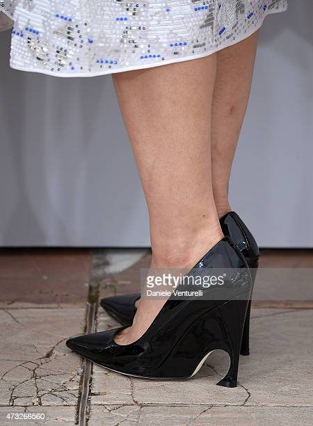 Actress Haruka Ayase shoe detail attends the 'Umimachi Diary' photocall during the 68th annual Cannes Film Festival on May 14 2015 in Cannes France
