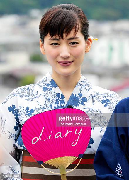 Actress Haruka Ayase wearing yukata Japanese summer kimono attends the 'Umimachi Diary ' promotion event at Hasedera Temple on June 9 2015 in...