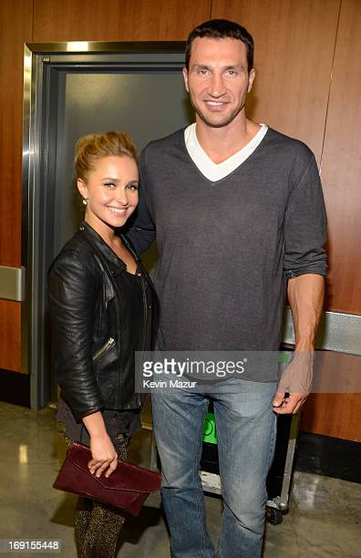 Actress Hayden Panettiere and Boxer Wladimir Klitschko in the CITI VIP room at the Rolling Stones '50 Counting' tour at Staples Center on May 20 2013...