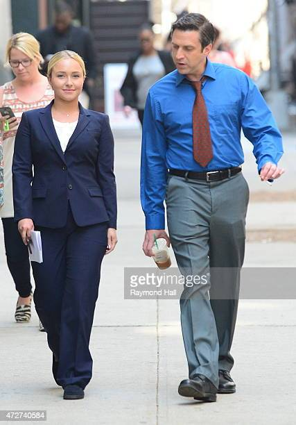 Actress Hayden Panettiere and Raul Esparza are seen the set of 'Custody' on May 8 2015 in New York City