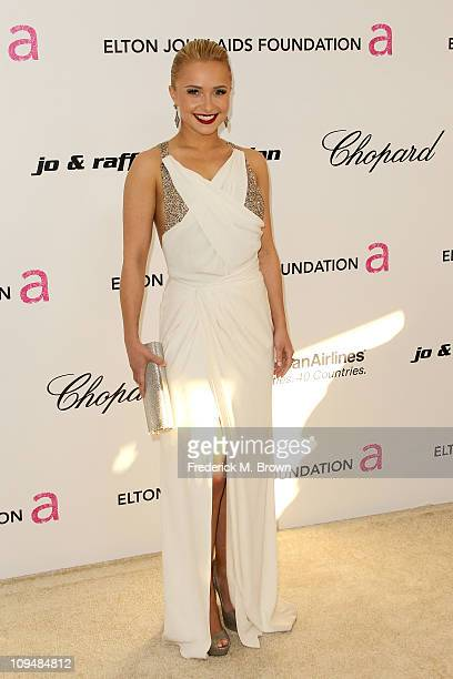 Actress Hayden Panettiere arrives at the 19th Annual Elton John AIDS Foundation's Oscar viewing party held at the Pacific Design Center on February...