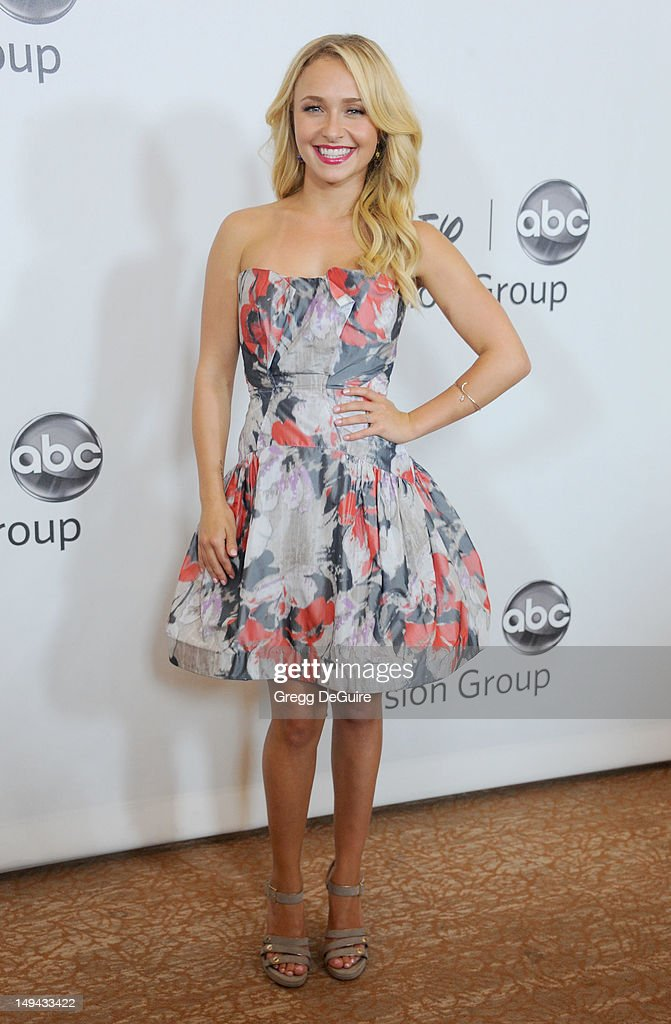 Actress <a gi-track='captionPersonalityLinkClicked' href=/galleries/search?phrase=Hayden+Panettiere&family=editorial&specificpeople=204227 ng-click='$event.stopPropagation()'>Hayden Panettiere</a> arrives at the 2012 Disney ABC Television TCA summer press tour party at The Beverly Hilton Hotel on July 27, 2012 in Beverly Hills, California.