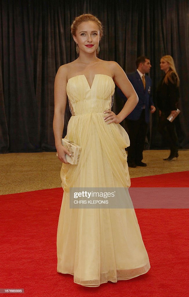 Actress Hayden Panettiere arrives at the annual White House Correspondents' Association dinner in Washington DC, April 27, 2013. AFP Photo/ Chris KLEPONIS