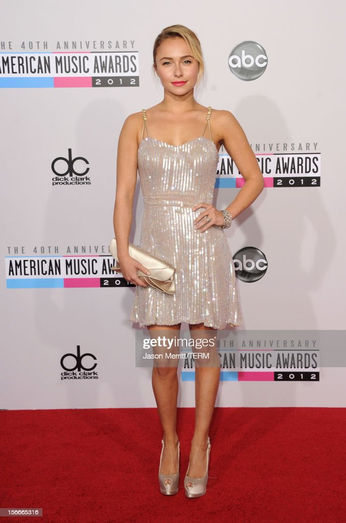 Actress <a gi-track='captionPersonalityLinkClicked' href=/galleries/search?phrase=Hayden+Panettiere&family=editorial&specificpeople=204227 ng-click='$event.stopPropagation()'>Hayden Panettiere</a> attends the 40th American Music Awards held at Nokia Theatre L.A. Live on November 18, 2012 in Los Angeles, California.