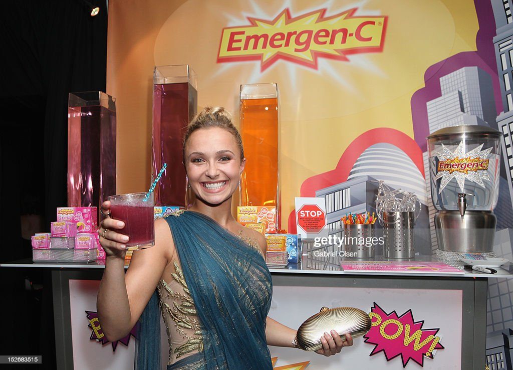 Actress <a gi-track='captionPersonalityLinkClicked' href=/galleries/search?phrase=Hayden+Panettiere&family=editorial&specificpeople=204227 ng-click='$event.stopPropagation()'>Hayden Panettiere</a> poses with Emergen-C in the Presenters Gift Lounge Backstage in celebration of the 64th Primetime Emmy Awards produced by On 3 Productions at Nokia Theatre L.A. Live on September 23, 2012 in Los Angeles, California.