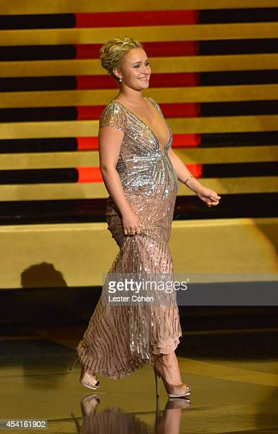 Actress Hayden Panettiere speaks onstage at the 66th Annual Primetime Emmy Awards held at Nokia Theatre LA Live on August 25 2014 in Los Angeles...