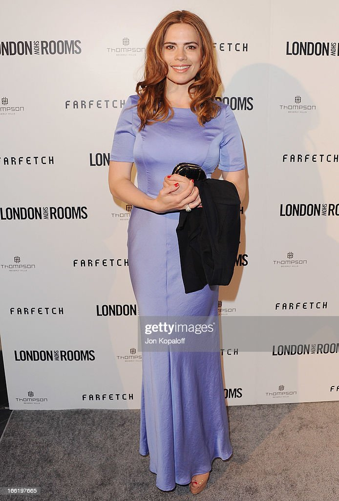 Actress Hayley Atwell arrives at the British Fashion Council Celebrates 'London Show Rooms LA' at Thompson Hotel on April 9, 2013 in Beverly Hills, California.