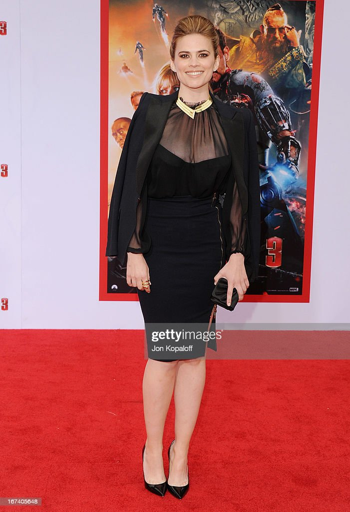 Actress Hayley Atwell arrives at the Los Angeles Premiere 'Iron Man 3' at the El Capitan Theatre on April 24, 2013 in Hollywood, California.
