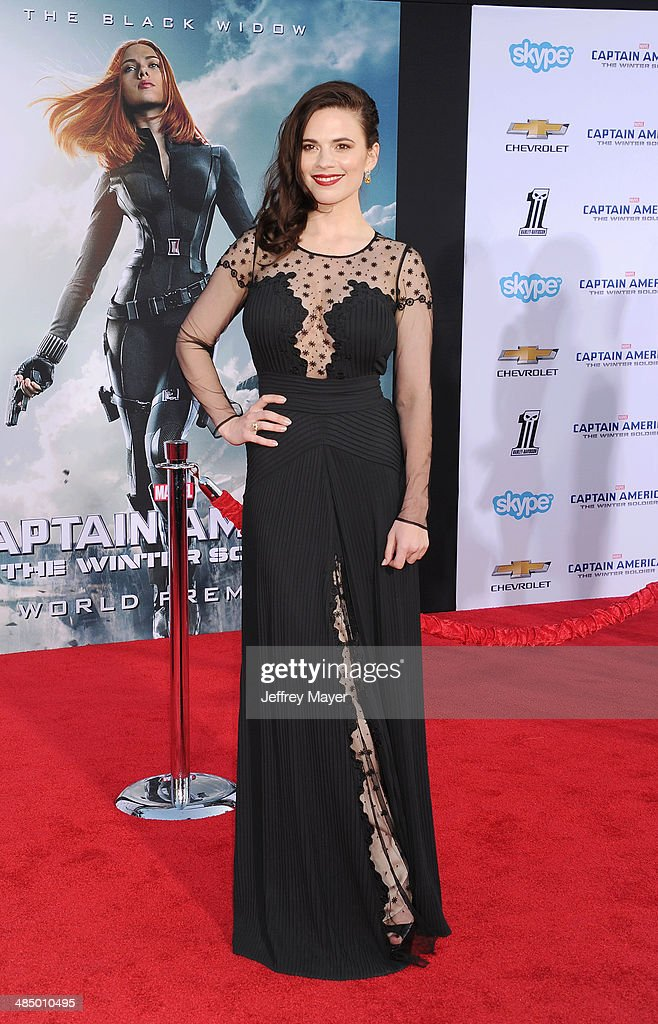 Actress Hayley Atwell arrives at the Los Angeles premiere of 'Captain America: The Winter Soldier' at the El Capitan Theatre on March 13, 2014 in Hollywood, California.