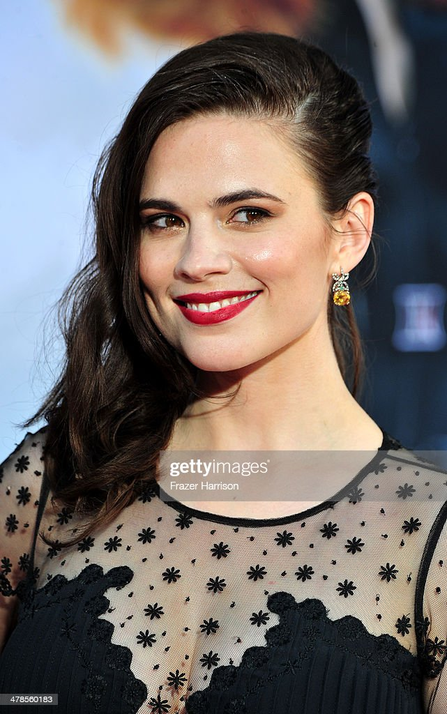 Actress Hayley Atwell arrives at the premiere Of Marvel's 'Captain America:The Winter Soldier at the El Capitan Theatre on March 13, 2014 in Hollywood, California.