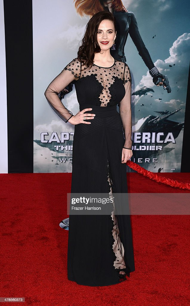 Actress <a gi-track='captionPersonalityLinkClicked' href=/galleries/search?phrase=Hayley+Atwell&family=editorial&specificpeople=2331262 ng-click='$event.stopPropagation()'>Hayley Atwell</a> arrives at the premiere Of Marvel's 'Captain America:The Winter Soldier at the El Capitan Theatre on March 13, 2014 in Hollywood, California.