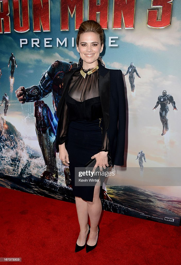 Actress Hayley Atwell arrives at the premiere of Walt Disney Pictures' 'Iron Man 3' at the El Capitan Theatre on April 24, 2013 in Hollywood, California.