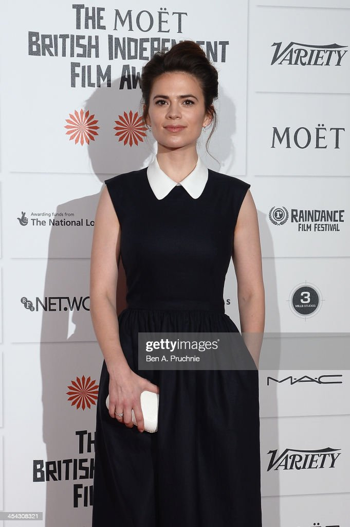 Actress <a gi-track='captionPersonalityLinkClicked' href=/galleries/search?phrase=Hayley+Atwell&family=editorial&specificpeople=2331262 ng-click='$event.stopPropagation()'>Hayley Atwell</a> arrives on the red carpet for the Moet British Independent Film Awards at Old Billingsgate Market on December 8, 2013 in London, England.