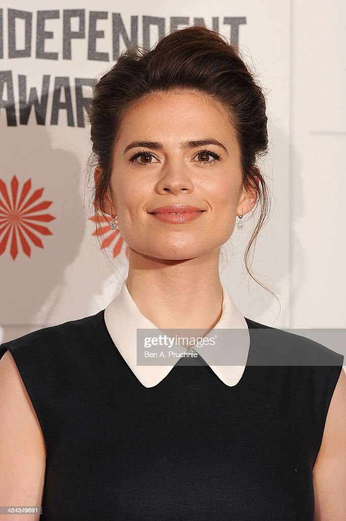Actress Hayley Atwell arrives on the red carpet for the Moet British Independent Film Awards at Old Billingsgate Market on December 8, 2013 in London, England.