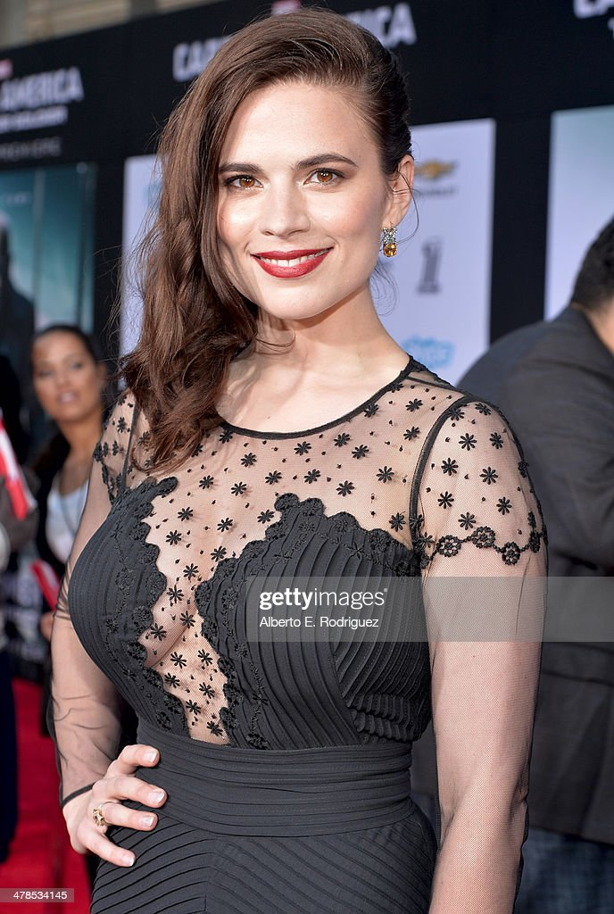 Actress Hayley Atwell attends Marvel's 'Captain America: The Winter Soldier' premiere at the El Capitan Theatre on March 13, 2014 in Hollywood, California.