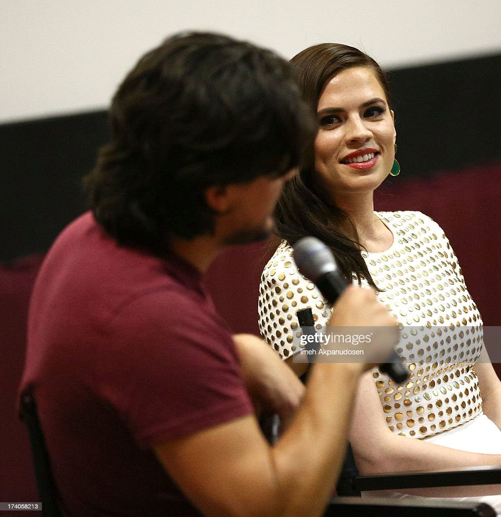 Actress <a gi-track='captionPersonalityLinkClicked' href=/galleries/search?phrase=Hayley+Atwell&family=editorial&specificpeople=2331262 ng-click='$event.stopPropagation()'>Hayley Atwell</a> attends the Marvel One-Shot Comic Con screening on July 19, 2013 in San Diego, California.