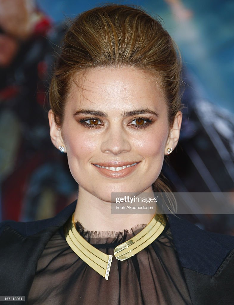 Actress Hayley Atwell attends the premiere of Walt Disney Pictures' 'Iron Man 3' at the El Capitan Theatre on April 24, 2013 in Hollywood, California.