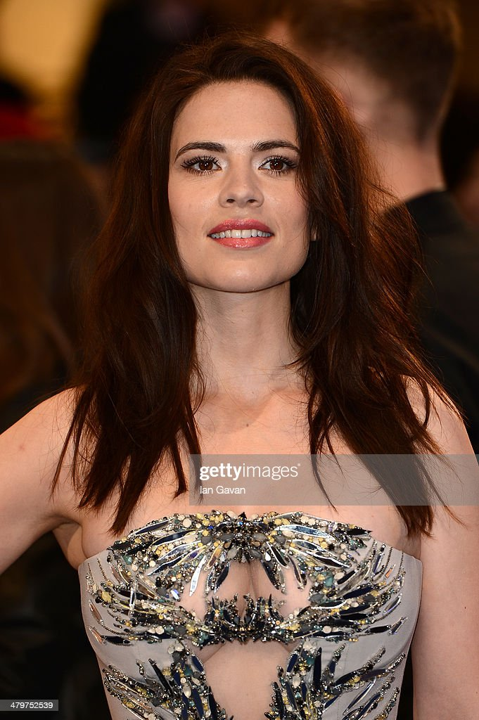 Actress Hayley Atwell attends the UK Film Premiere of 'Captain America: The Winter Soldier' at Westfield London on March 20, 2014 in London, England.