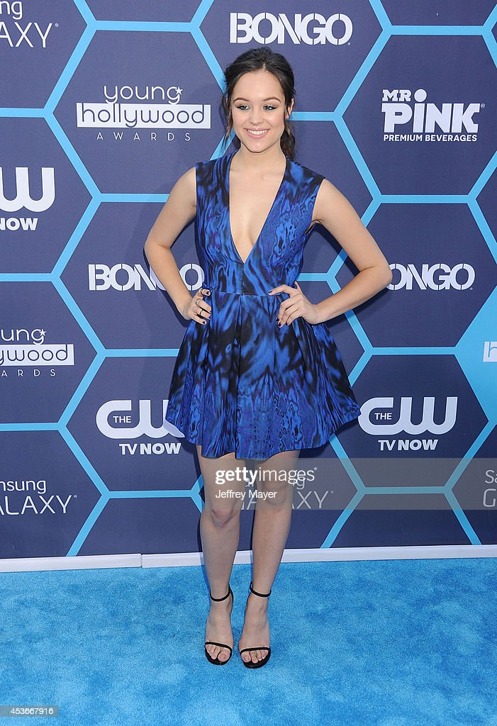 Actress <a gi-track='captionPersonalityLinkClicked' href=/galleries/search?phrase=Hayley+Orrantia&family=editorial&specificpeople=8654268 ng-click='$event.stopPropagation()'>Hayley Orrantia</a> arrives at the 16th Annual Young Hollywood Awards at The Wiltern on July 27, 2014 in Los Angeles, California.