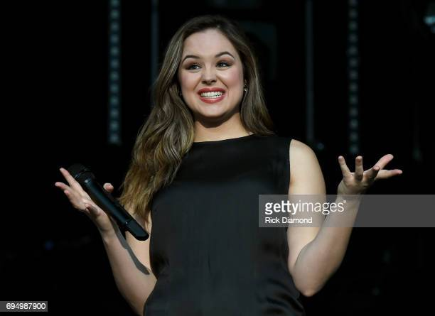 Actress Hayley Orrantia speaks onstage during day 4 of the 2017 CMA Music Festival on June 11 2017 in Nashville Tennessee
