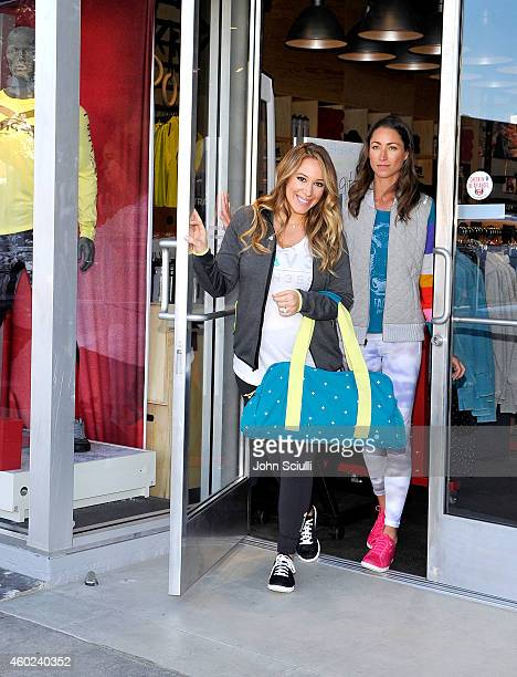 Actress Haylie Duff and Tara Stiles attend a yoga event at New Reebok FitHub In Studio City hosted by Haylie Duff and Tara Stiles at Reebok FitHub on...