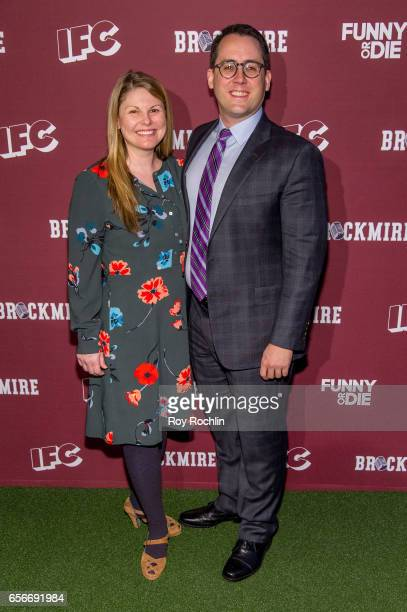 Actress Heather Ayers and Executive producer Joe Farrell attend the 'Brockmire' red carpet event at 40 / 40 Club on March 22 2017 in New York City