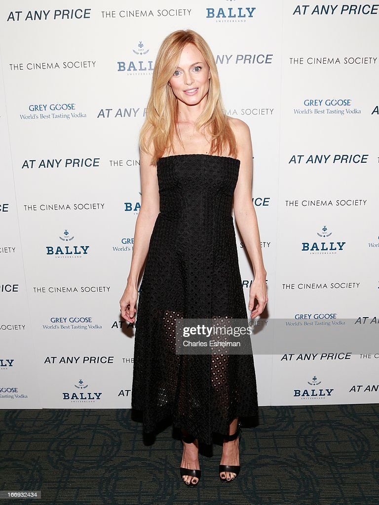 Actress <a gi-track='captionPersonalityLinkClicked' href=/galleries/search?phrase=Heather+Graham+-+Actress&family=editorial&specificpeople=204520 ng-click='$event.stopPropagation()'>Heather Graham</a> attends The Cinema Society & Bally screening of Sony Pictures Classics' 'At Any Price' at Landmark Sunshine Cinema on April 18, 2013 in New York City.