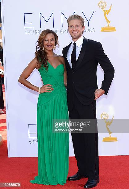 Actress Heather Hemmens and actor Matt Barr arrives at the 64th Annual Primetime Emmy Awards at Nokia Theatre LA Live on September 23 2012 in Los...